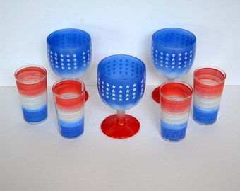 Red White and Blue Glasses (Set of 8)