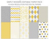 Simply Modern EDITABLE PSD Digital Paper Pack - Layered Photoshop Files for Photographers and Digital Scrapbooking - INSTANT Download