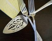 Vintage Wedding Cake Server Cake Tasting Forks Hand Stamped, CUSTOMIZE your own