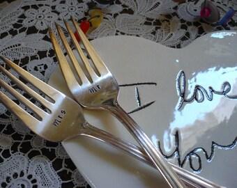 Weddings, Table Decor, Dessert Forks, Tasting Forks, I Do Me Too, Bride Groom, Hand Stamped Mr & Mrs Wedding Forks
