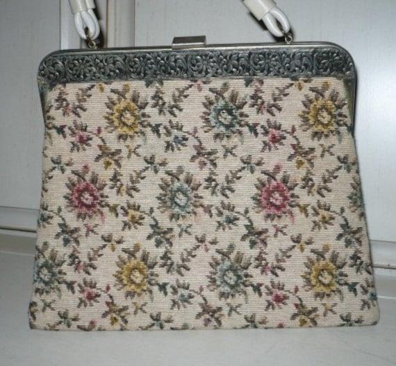Vintage Floral Tapestry Handbag, Purse, Kelly Handbag