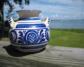 Blue and White Pottery Two Handled Vase