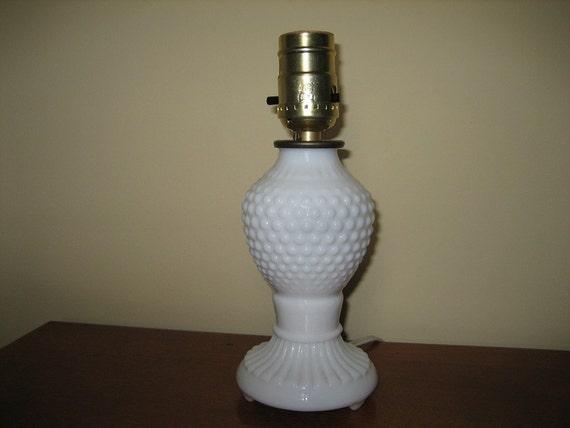 Glass Lamp Bases South Africa: White Milk Glass Hobnail Lamp Base
