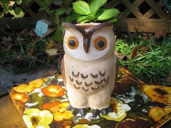 Handmade Vintage Pottery Owl Vase