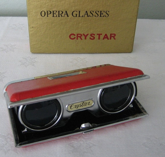 Crystar Red Folding Opera Glasses In Box