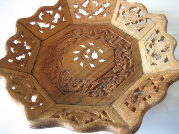 SALE  Vintage Indian Carved Wooden Tray with Inlay