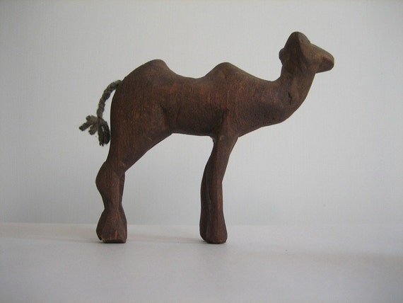 Primitive Folk Art Carved Wood Camel Figure Toy