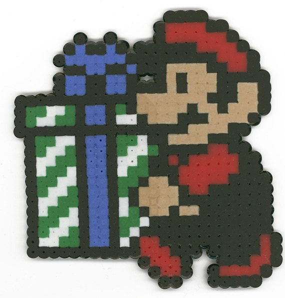 Mario with Present 8-bit Christmas Ornament by ...