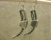 Gas Pump Nozzle Sterling Silver Earrings - Gearhead Jewelry - Rockabilly Industrial - Automotive Mechanic - Sweet 16