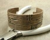 Wood Grain Bronze Cuff Bracelet- Wide Cuff Bracelet- Rustic Jewelry- Wood Cuff Bracelet- Industrial jewelry- For Him or For Her- Men Women