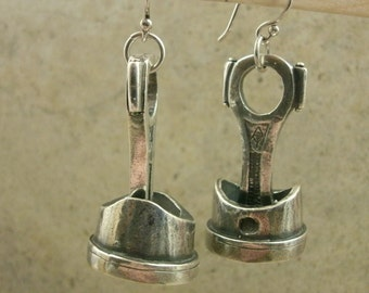 Piston Rod Earrings in Fine Silver - Engine Part - Machine - Automotive Mechanic - Industrial - Rockabilly - Car