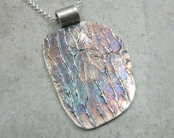 Organic Tree Pendant in Fine Silver- OOAK Necklace- Dark Forest- Abstract Trees- Red Orange - Nature - Wood- Eco-Friendly Silver Jewelry