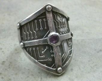 Circuit Board Shield Ring in Fine Silver - Cyberpunk RIng - Medieval Motherboard - Techie - Renaissance - Sci Fi Hacker - Cyberpunk Jewelry