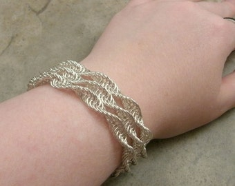 Spiral Chainmaille Bracelet in Sterling Silver - Multi Strand Jewelry - Renaissance - Medieval Gothic - DNA Double Helix