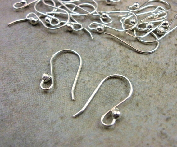 Sterling Silver Ear Wires- Solid Sterling Findings- Shepard Hook Earwires- French Earring Hook- Earring Component- Set of 10 piece- 5 Pair