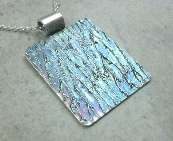 Abstract Lightning Fine Silver Pendant- One of a Kind Jewelry- Sci Fi Thunder Storm Blue- April Shower- Spring Showers- Lightening Necklace
