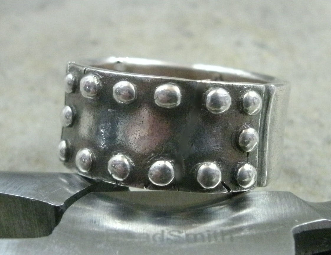Riveted Metal Plate Ring In Fine Silver Steel Plate Rivets