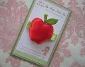 girl hair clip - back to school hair clips - red apple hair clip - no slip hair clip