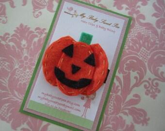 Hair clip - girl hair clip - pumpkin hair clip - Halloween hair clip - no slip hair clip