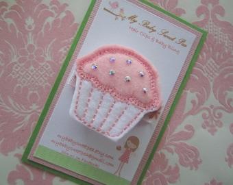 girls hair clip - cupcake hair clip - no slip hair clip