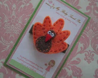 girl hair clips - thanksgiving hair clips - turkey hair clips - no slip hair clips