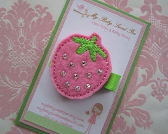 Girl hair clips - strawberry hair clips - girl barrettes - strawberry barrettes