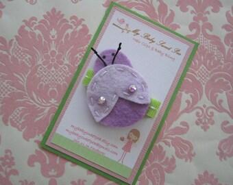 Girl hair clips - ladybug hair clips - girl barrettes