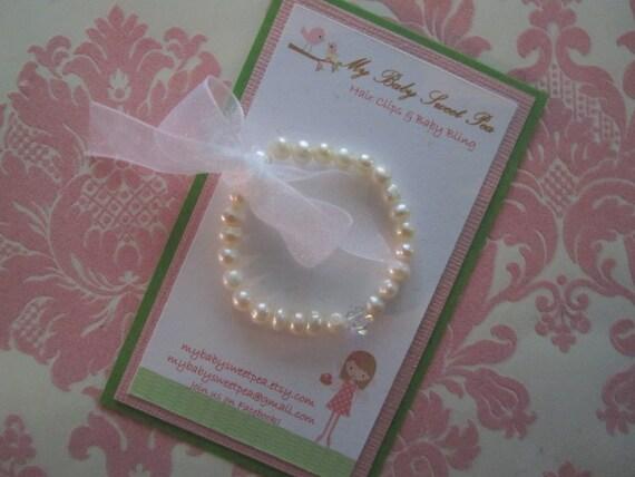 pearl baby bracelet - baby girl bracelets - christening bracelet
