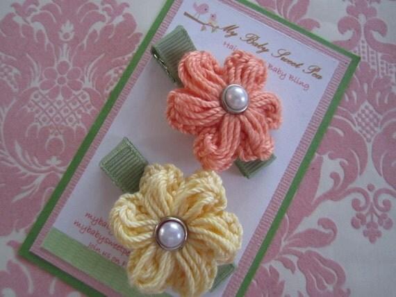 Girl hair clips - girl barrettes - flower hair clips - no slip hair clips