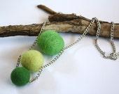 Green Leaf Necklace for her, fall fashion, ooak, gift idea, lightweight, original, felt, bright, organic, wool