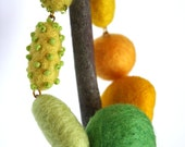 Felted Yellow and Green necklace, for her, fall fashion, ooak, gift idea, lightweight, original, felt, bright, embroidered