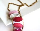 Pink Felted Necklace for her, fall fashion, ooak, gift idea, lightweight, original, felt, bright, organic, wool
