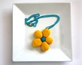Yellow Turquoise Felted Flower Necklace Pendant on chain, perfect gift, teen girl, feminine, lightweight, bright, ooak, fall fashion, trend