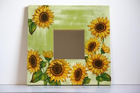Items similar to sunflower decoupage mirror home decor for Sunflower bedroom decor