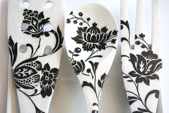 Decoupage Kitchen Decoration, Black and White flowers, wooden spoon, fork, spatula, perfect gift, housewife, home, decorative