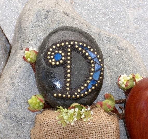 "Monogram Letter ""D"" in Blue - Mosaic Rock Paperweight / Garden Stone"