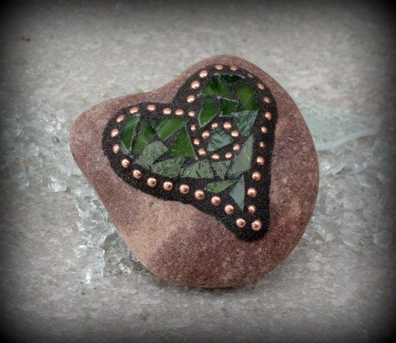 Green and Copper Heart Shaped Mosaic Paperweight / Garden Stone