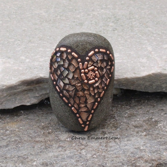 2) Copper and Copper Tempered Glass Heart  Mosaic Paperweight / Garden Stone