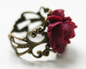 Victorian Ring with Red Rose