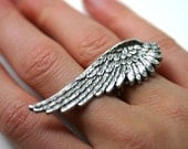 Double Finger Ring - Silver Angel Wing adjustable
