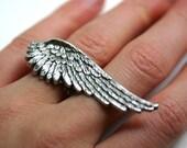 Steampunk Angel Wing Ring - Adjustable 2 Finger Ring
