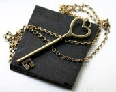 Key to My Heart Necklace in Antique Brass