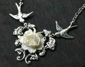 Wedding Necklace - Bride or Bridesmaid - White Black or Red