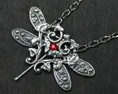 Silver Dragonfly Necklace with Ruby Red Swarovski Rhinestone