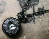 Gothic Necklace - Heart Pocket Watch in Gunmetal