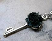 Gothic Skeleton Key Necklace with Black Rose
