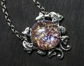 Amethyst Opal Necklace - Glass Cabochon