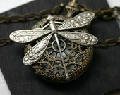 Pocket Watch Necklace with Dragonfly