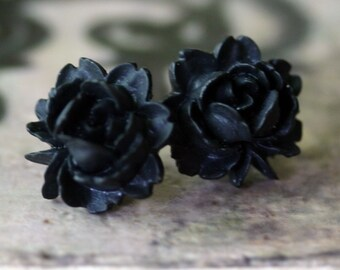 Black Rose Earrings - Gothic Lolita