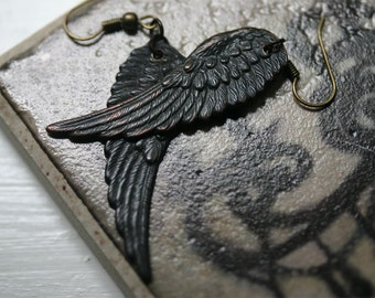Black Angel Wing Earrings (Hook) D'Archangel